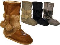 New Ladies Fur Suedette  Boots Womens Shoes 3 - 8