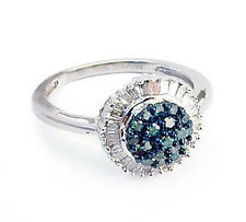 Blue Diamond Ring 10K White Gold Blue & White Diamond Vintage Style Ring .50ct