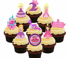 2nd Birthday Princess Edible Cup Cake Toppers, 36 Standup Fairy Decorations Girl
