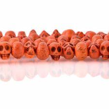 12mm ORANGE Howlite Skull Beads, Drilled Sideways, 40 beads, how0669