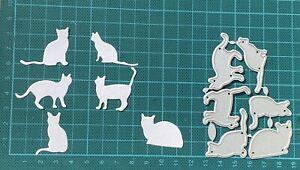 Brand New 6 Piece Cat Silhouette Metal Die Cutter uk