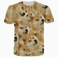 Funny Doge Shiba Inu Emoji Dog Graphic Tee Unisex Casual Short Sleeve T-Shirt