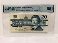 PMG Graded 1991 $20 Canada 65EPQ