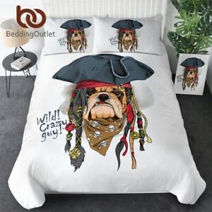 Hippie Dogs Kids Bed Set Cartoon Duvet Cover Pirate Hat Boys Bedclothes