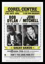 """Framed Vintage Style Rock 'n' Roll Poster """"BOB DYLAN & JONI MITHCELL""""; 12x18"""