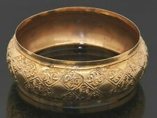 Antique 14K yellow gold elegant 26mm wide floral bangle bracelet