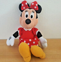 Disney Stuffed Plush Minnie Mouse in Polka Dot Red Dress 12 inches
