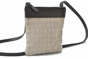 Authentic BVLGARI Canvas Leather Shoulder Pouch Beige Brown B5145
