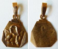Petit pendentif médaille en OR massif ancien Ange angelot gold medal