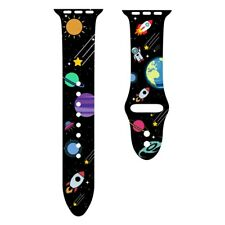 Space pattern silicone printed apple watch band