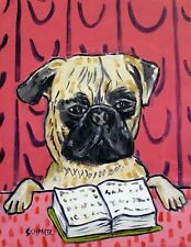 Pug reading Art Print Poster of Painting Modern Abstract glossy Art 11x17