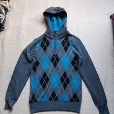 Bravesoul Men's Hoodie Checked Argyle Sweatshirt Grey Black Wool *UK Size SMALL*
