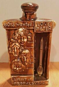 ANTIQUE SCHAFER VATER Brown Bisque LOVE METER SPIRIT OF PROPHESYING Bottle Flask