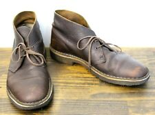CLARKS ORIGINAL'S WAXED BROWN GENUINE LEATHER LACE UP CASUAL BOOTS SHOES 10 M