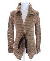F.L. Malik Tie Front Open Knit Cardigan Sweater Acrylic Wool Brown Womens Sz S