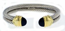 """David Yurman Cable Classics 14k Gold Sterling Silver Double Cable Onyx Cuff 6.5"""""""