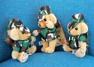 "Army Lot of 3 NWT 6"" Merrythought Cheeky Camouflage Mohair Teddy Bear Ltd Ed New"