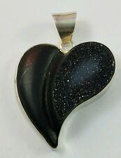 IMPRESSIVE Sterling Silver Black Jet Heart Pendant Half Smooth Half Sandy Druzy