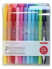 Tombow Play Color 2 Water-Based Pens - Set of 24 Colors 0.4mm & 1.2mm Dual Brush