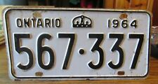 1964 Ontario Canada License Plate #567-337