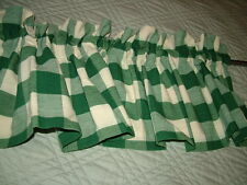 Hunter Green Checked Country Valance 68X13.5 Lined Balloon Valance
