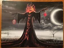 Tin Sign Vintage Halloween Tree Pumpkin