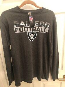 Las Vegas Raiders Men's Medium Long Sleeve Shirt Gray Fanatics Nfl Football New