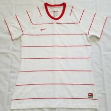 Girls Size Medium(8-10) White Red Striped Nike Dri Fit Shirt 379177-109 preowned