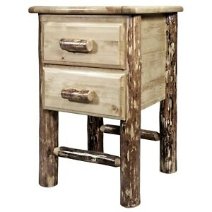 Two Drawer Night Stand Amish Log End Tables Rustic Lodge Furniture