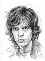 Mick Jagger Portrait Scribble Zeichnung DIN A4 Kunst Malerei Original Jannys ART