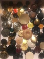 Huge Lot Of 100 + Vintage Sewing Buttons Plastics Metals Mixed Materials  1K