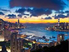 HONG KONG CITYSCAPE SKYLINE NIGHT PHOTO ART PRINT POSTER PICTURE BMP1156B