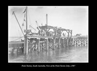 OLD POSTCARD SIZE PHOTO POINT TURTON SOUTH AUSTRALIA THE JETTY c1907