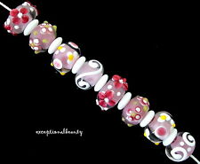8 Assorted Pink White Lampwork Bumpy Flower Smooth White Rondelle Glass Beads