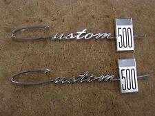 NOS OEM Ford 1964 Galaxie Custom 500 Quarter Emblems Scripts Ornaments Badge