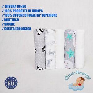 Mussole neonato cotone 100% made in EU  3 pz fantasie maschietto + 2 pz bianche