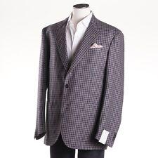 NWT $1995 LUCIANO BARBERA Brown-Navy Check Wool-Linen Sport Coat 46 R (Eu 56)