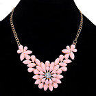 Rhinestone Crystal Resin Pearl Flower Pendant Choker Bib Statement Necklace Gift