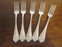 Oneida KING JAMES Set of 5 Dinner Forks USA Silverplate Flatware Lot D