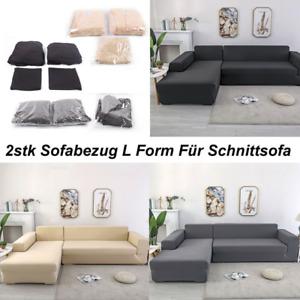 2x Normale 3-Sitzer Sofabezüge Stretch Couch Schonbezüge für L-form Schnittsofa