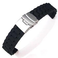 Cinturino orologio di gomma silicone chiusura pieghevole impermeabile 24 mm T1E7