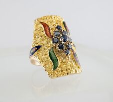 Sapphire Ring Enamel 18K Gold Cocktail Shield Vintage