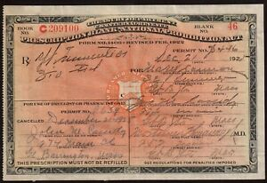 Vintage 1925 Prohibition Whisky Prescription Pharmacy Doctor Bar Mary Cannon MA