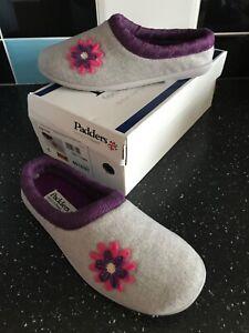 BNIB Padders ladies slippers size 6 grey,purple,pink slip on