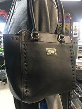 UNIT LADIES HAND BAG CRUISER IN BLACK PVC GOLD HARDWARE SHOULDER STRAP