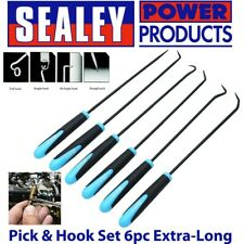 6pc 9.5 inch Long Reach Hook And Pick Set For O Rings Hoses Clips Seals Clamps