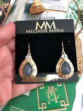 """zirconia 14kGold Plated Authentic New$230 Melinda Maria earrings 1.5"""" cubic"""