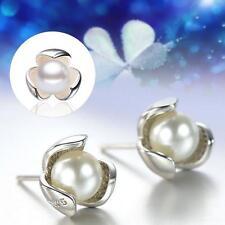 Women Girls 925 Sterling Silver Cultured Freshwater Pearl Ear Stud Earrings FB
