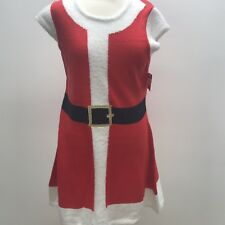 Holiday Time Ugly Christmas Dress Large NWT Knit Red Black Belt Fur Sweater Fun