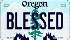Blessed Oregon State Background Novelty Motorcycle Plate